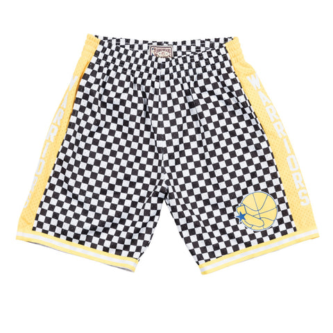 Golden State Warriors Mitchell & Ness Black & White Checkered Swingman Shorts