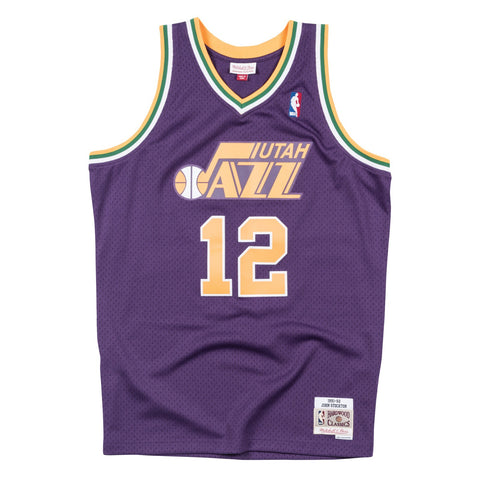 John Stockton NBA Utah Jazz Men's Mitchell & Ness Purple 1991-92 Swingman Jersey