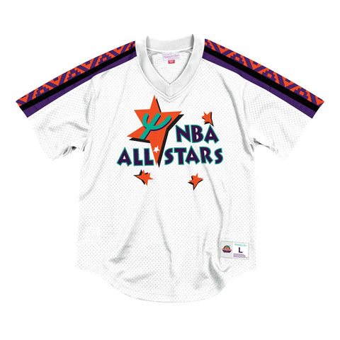 1995 NBA All Star West Mitchell & Ness Men's Pullover V-Neck Mesh White Jersey