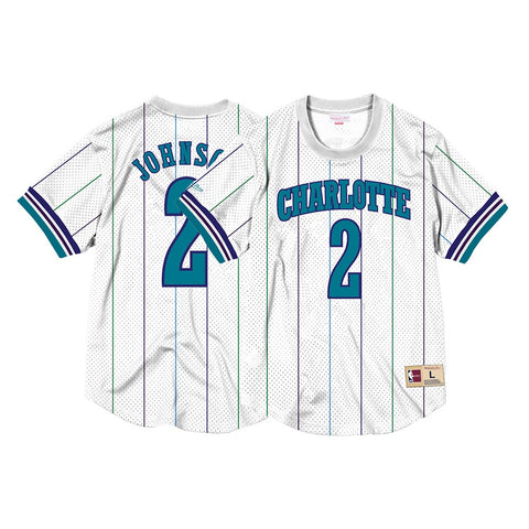 Larry Johnson Charlotte Hornets Mitchell & Ness Men's Mesh Crew Neck Jersey