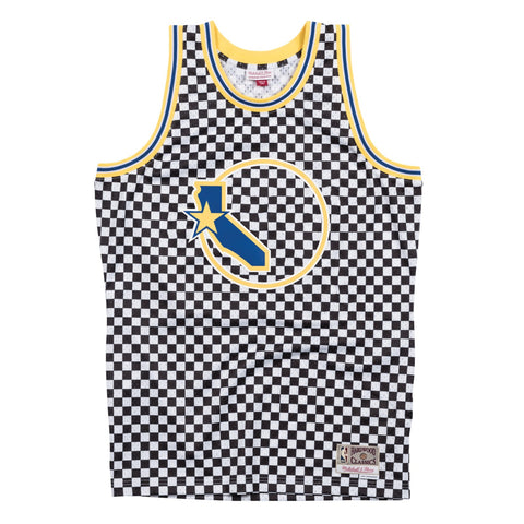 Golden State Warriors Mitchell & Ness Men's Checkered Swigman Jersey
