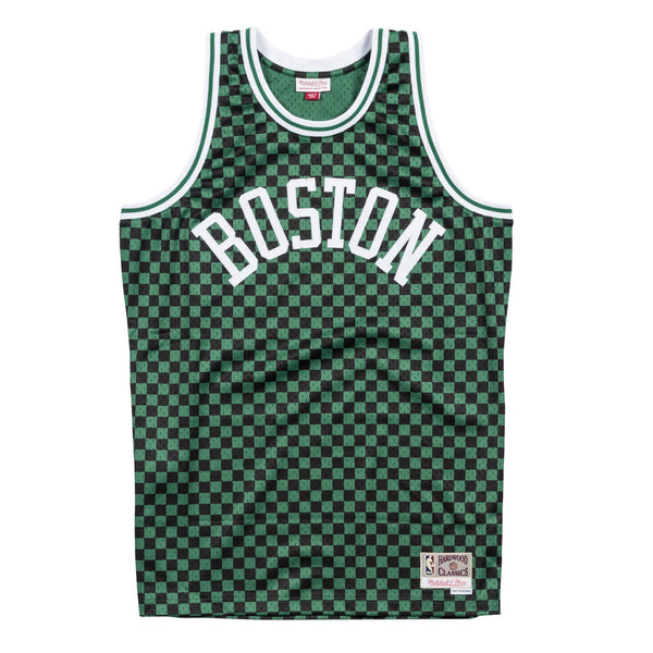 Boston Celtics Mitchell & Ness Men's Green & Black Checkered Swigman Jersey