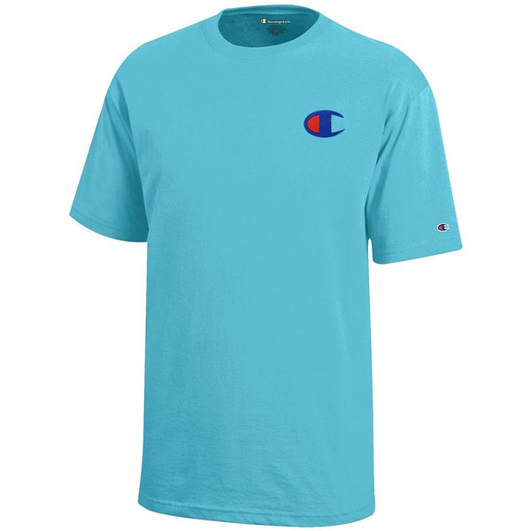 Champion Reverse Weave Logo Youth (Turq Waters) Short Sleeve T-Shirt
