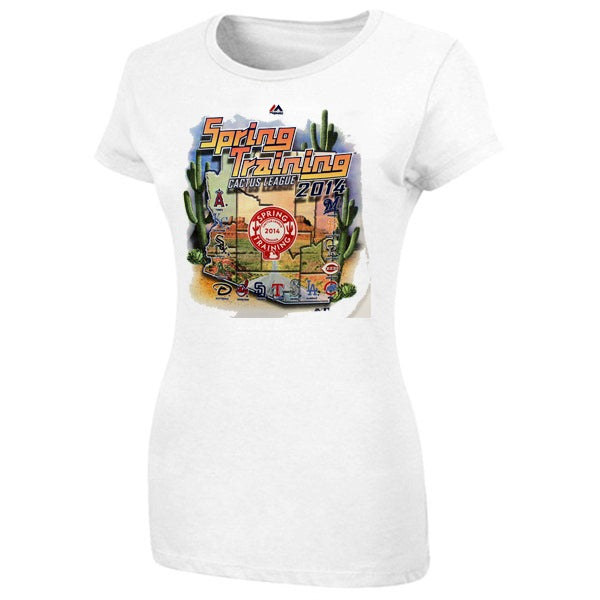 "MLB Majestic Women's White 2014 Spring Training ""Cactus League"" Map T-Shirt"