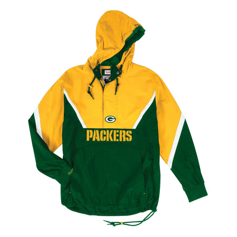 Green Bay Packers NFL Mitchell & Ness Half Zip Anorak Throwback Jacket Men's