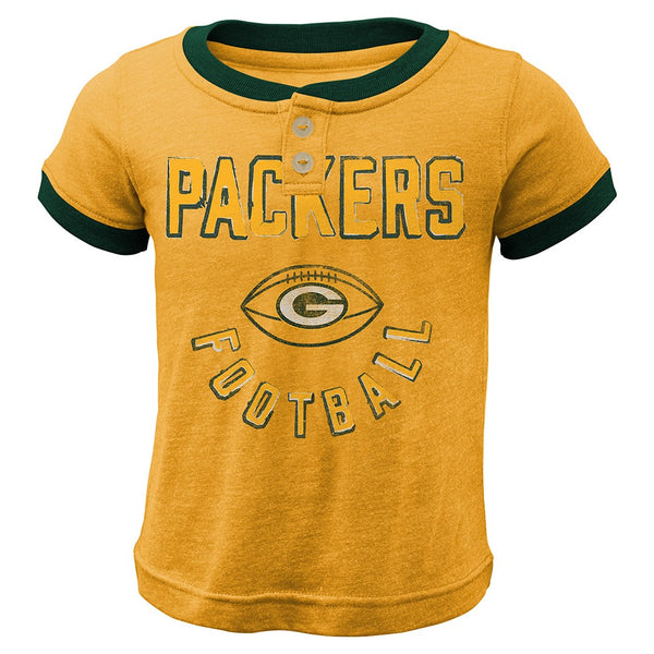 "Green Bay Packers Outerstuff NFL Toddler Yellow ""Play Ball"" Ringer T-Shirt"