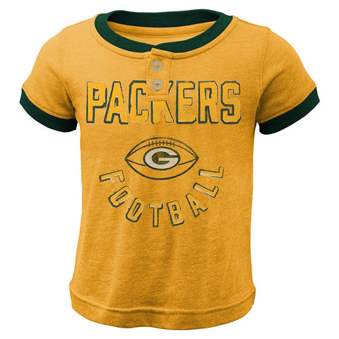 "Green Bay Packers Outerstuff NFL Boys Yellow ""Play Ball"" Ringer T-Shirt"