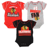 Chicago Blackhawks NHL Infant Red/Black/Grey #1 Biggest Fan 3 Piece Creeper Set