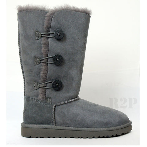 UGG Australia Bailey Button Triplet (Grey) Kids  1962