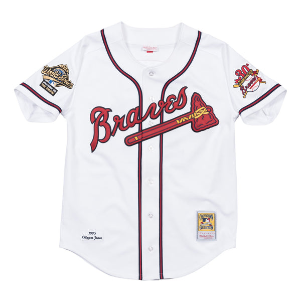 Chipper Jones 1995 Atlanta Braves Mitchell & Ness Authentic Home White WS Jersey