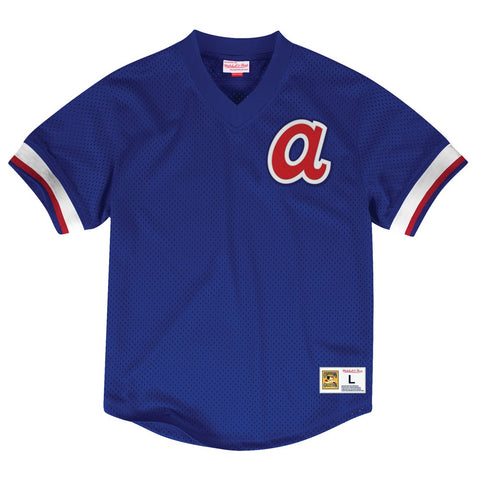 Atlanta Braves Mitchell & Ness Men's V-Neck Mesh Pullover Throwback Blue Jersey