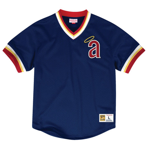 California Angels Mitchell & Ness Men's V-Neck Mesh Pullover Throwback Jersey