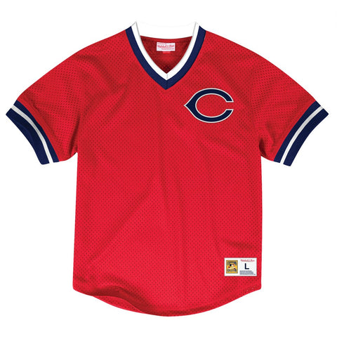 Cleveland Indians Mitchell & Ness Men's V-Neck Mesh Pullover Throwback Jersey