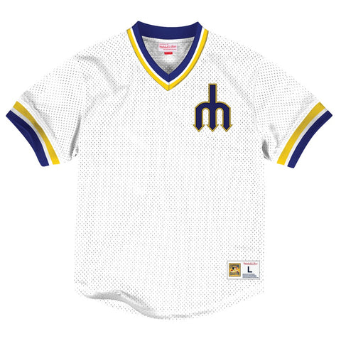 Seattle Mariners Mitchell & Ness Men's V-Neck Mesh Pullover Throwback Jersey