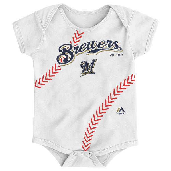 "Milwaukee Brewers MLB Majestic Infant ""Stitches"" Baseball Creeper"
