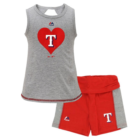Texas Rangers MLB Majestic Little Girls' Grey Tank Top & Shorts Set (4-6X)