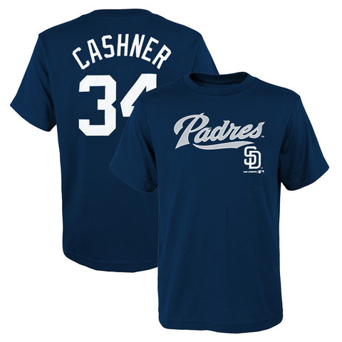 Andrew Cashner MLB San Diego Padres Player Jersey Navy Blue T-Shirt Youth (S-XL)