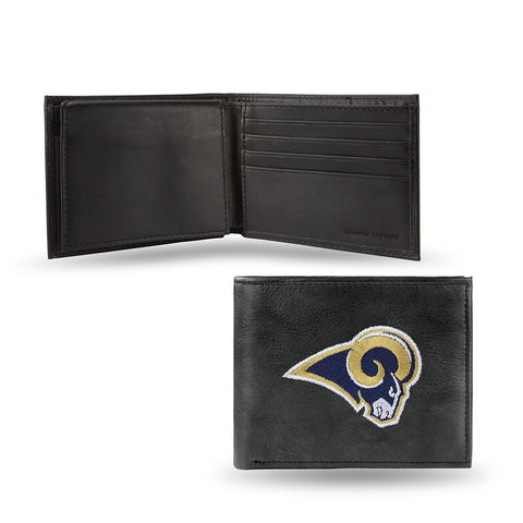 Los Angeles Rams NFL Leather Embroidered Team Logo Black Billfold Wallet by RICO