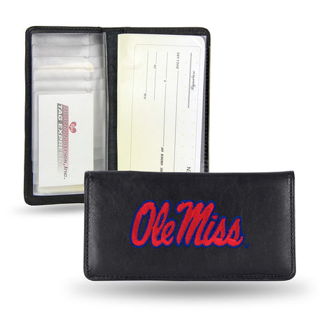 Ole Miss Rebels NCAA Embroidered Team Logo Leather Checkbook Wallet by RICO