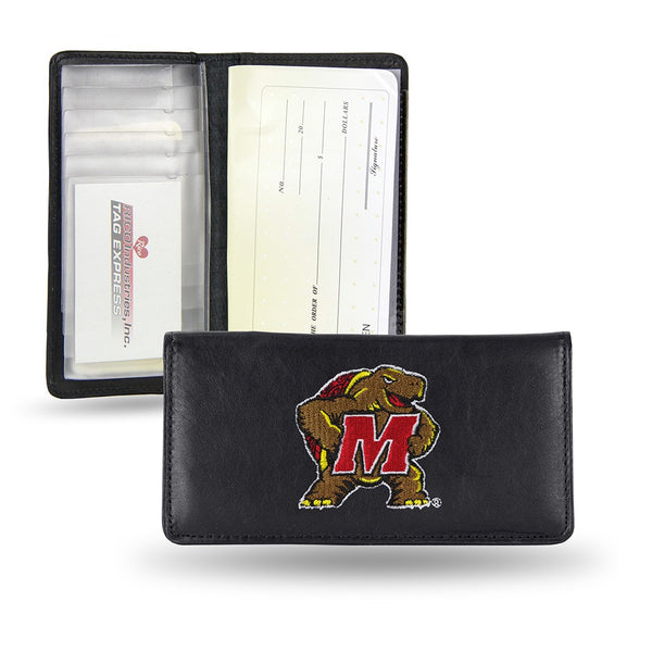 Maryland Terrapins NCAA Embroidered Team Logo Leather Checkbook Wallet by RICO