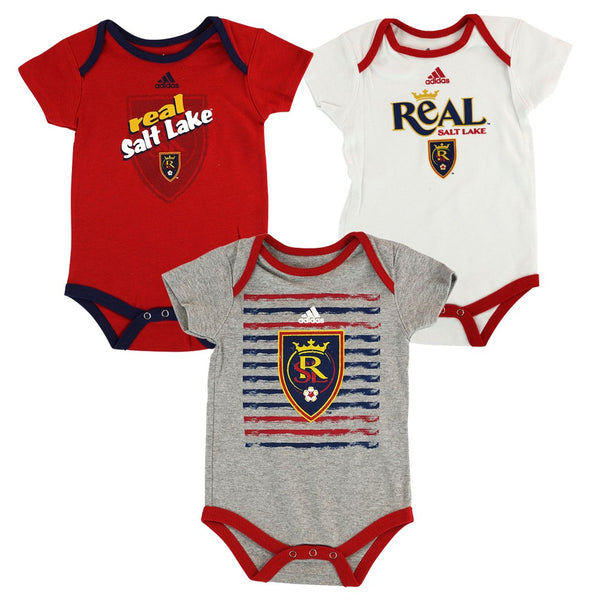 "Real Salt Lake MLS Adidas Infant Red/Grey/White ""3 Goals"" 3 Piece Creeper Set"