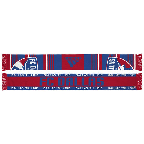 FC Dallas MLS Adidas  Performance Red Team Slogan Jacquard Scarf