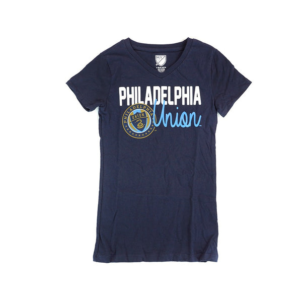 Philadelphia Union Adidas MLS Girls Navy Blue V-Neck Triblend  T-Shirt