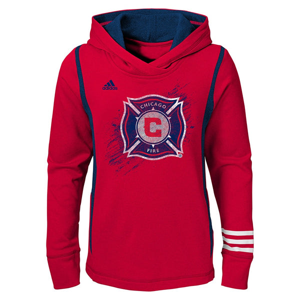 Chicago Fire Soccer Club Adidas MLS Performance Team Logo Red Hoodie Youth Girls