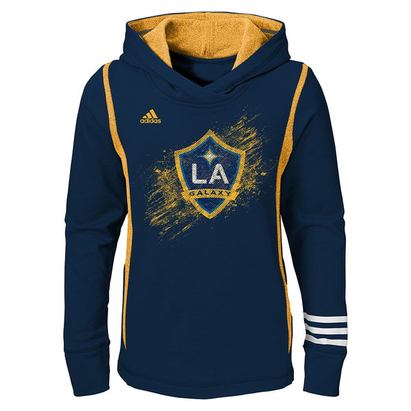 LA Galaxy Adidas MLS Performance Team Color Navy Pullover Hoodie Youth Girls