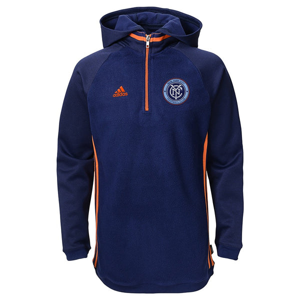 New York City FC MLS Adidas Climawarm Performance Travel 1/4 Zip Hoodie Youth
