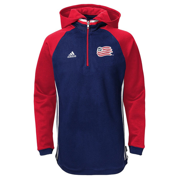 New England Revolution Adidas Climawarm Performance Travel 1/4 Zip Hoodie Youth