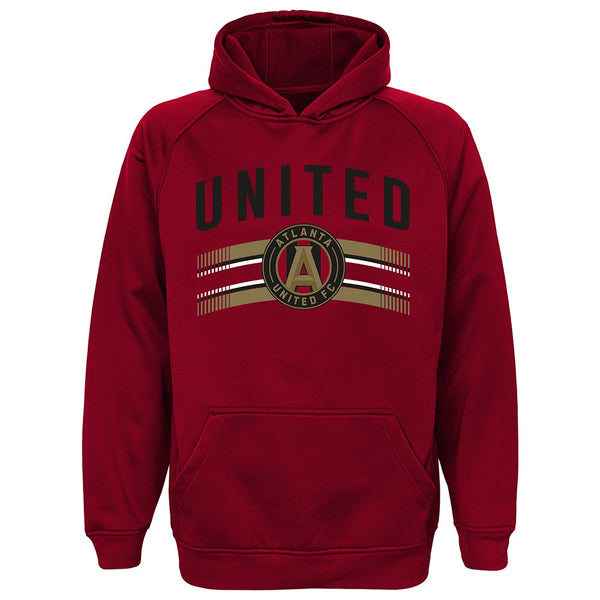 Atlanta United MLS Team Logo Performance Red Pullover Hoodie Fleece Youth (S-XL)