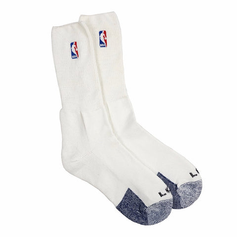 (1) Paif of Official NBA Dribbler Performance Power White Crew Socks Men's