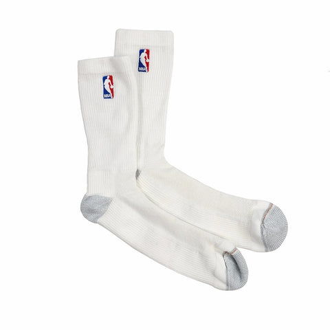(1) Paif of Official NBA Dribbler Performance Seam Toe White Crew Socks Men's