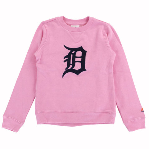 "Detroit Tigers MLB Majestic ""Our Team"" Pink Crew Neck Sweatshirt Youth Girls"