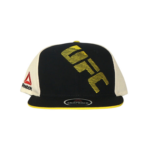 Reebok UFC Men's Black/Yellow Authentic Flat Brim Flat Brim Snapback BE7428