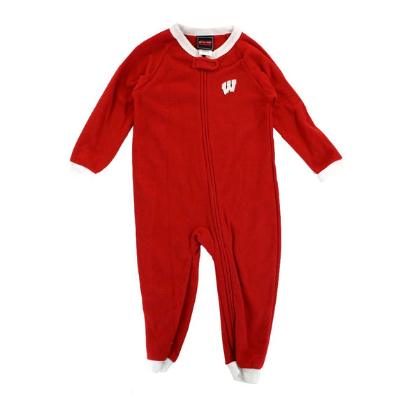 Wisconsin Badgers NCAA Full Zip Team Logo Red Blanket Sleeper Toddler (2T-4T)