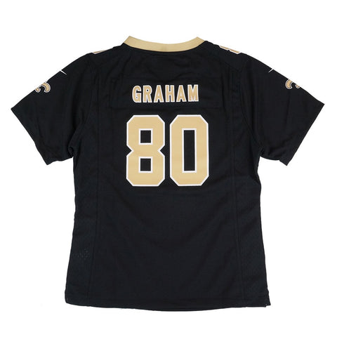 Jimmy Graham New Orleans Saints Nike Home Black Jersey Girls Youth (S-XL)