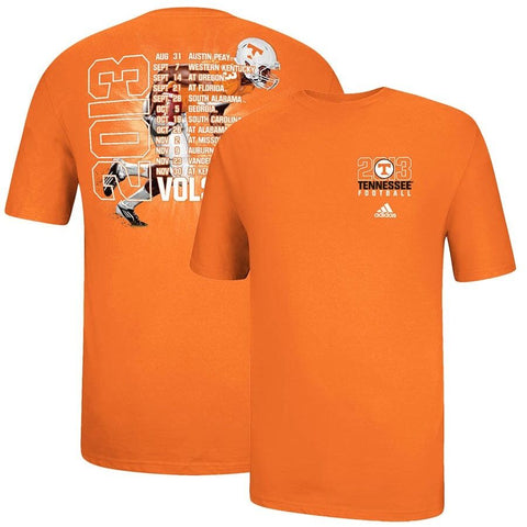 Tennessee Volunteers NCAA Adidas Orange 2013 Football Tour Schedule T-Shirt