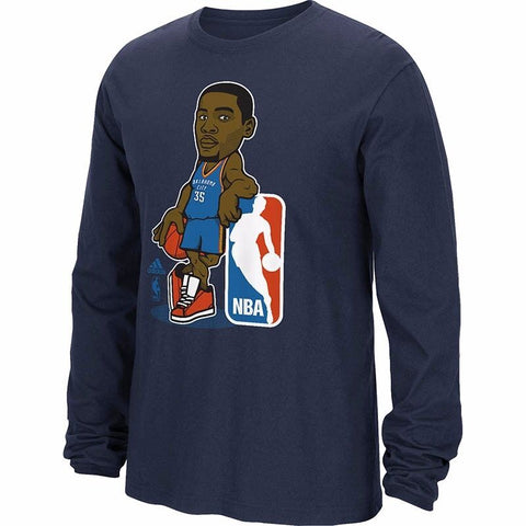 "Kevin Durant Oklahoma City Thunder NBA Adidas Navy ""Geeked Up"" Long Sleeve Shirt"