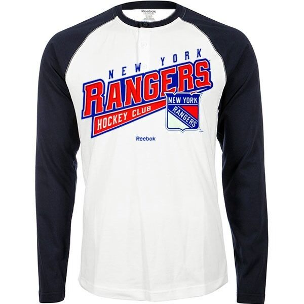 "New York Rangers NHL Reebok White ""Hockey Sweep"" Raglan Long Sleeve Shirt"