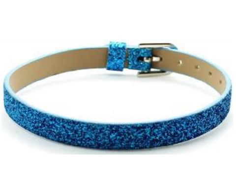 Adjustable Glitter Leather Bracelets for Slide Charms - 8MM - Blue