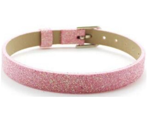 Adjustable Glitter Leather Bracelets for Slide Charms - 8MM - Light Pink