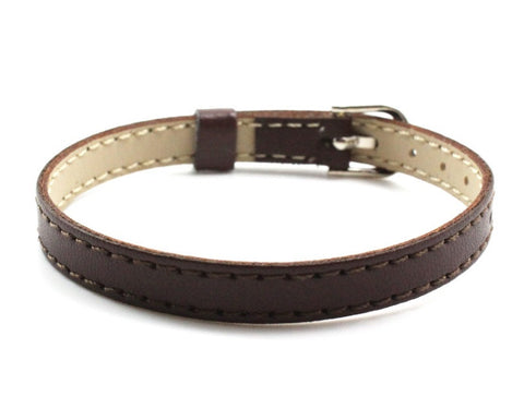 Adjustable Leather Bracelets for Slide Charms - 8MM - Dark Brown