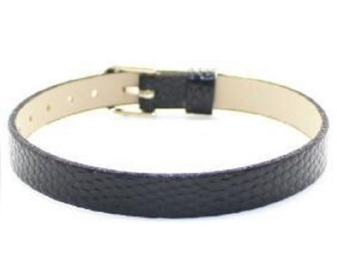 Adjustable Faux Snake Skin Leather Bracelets for Slide Charms - 8MM - Black