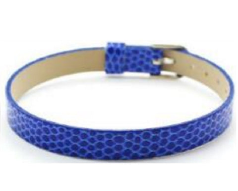Adjustable Faux Snake Skin Leather Bracelets for Slide Charms - 8MM - Blue