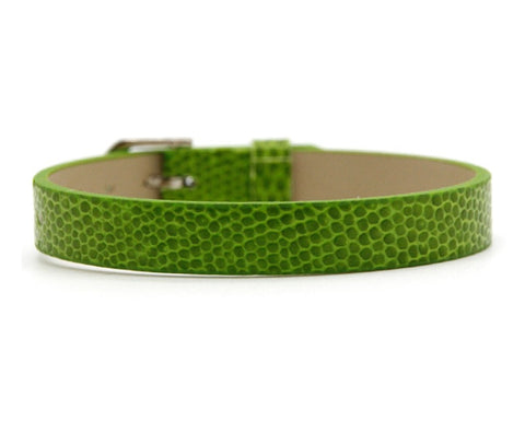 Adjustable Faux Snake Skin Leather Bracelets for Slide Charms - 8MM - Green