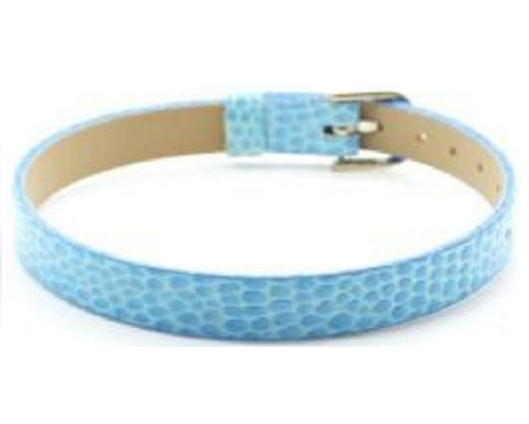 Adjustable Faux Snake Skin Leather Bracelets for Slide Charms - 8MM - Light Blue