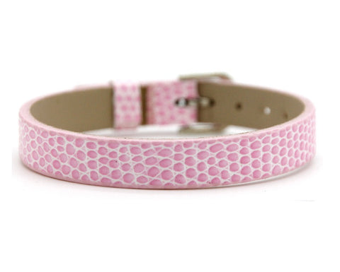 Adjustable Faux Snake Skin Leather Bracelets for Slide Charms - 8MM - Light Pink