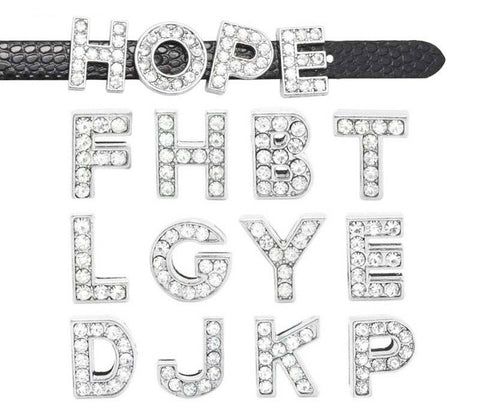 Clear Rhinestone Initial Letter Slide Charms from A-Z - 10MM - Silver